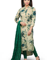 Buy Beige printed cotton readymade salwar with dupatta readymade-suit online