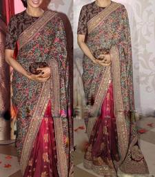 Buy Red embroidered georgette saree with blouse sridevi-saree online