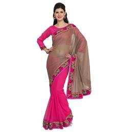 Buy pink plain georgette saree With Blouse jute-saree online