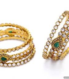 Buy ANTIQUE GOLDEN KAIRI SHAPED KUNDAN STONE STUDDED 6 PIECE BANGLE SET (KUNDAN RED GREEN)  - PCB1021 bangles-and-bracelet online