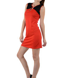 Buy Red and black colored round neck dress western-wear online