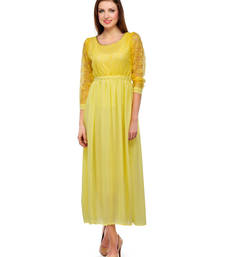 Buy Yellow colored round neck dress western-wear online