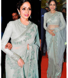 Buy white embroidered net saree With Blouse sridevi-saree online