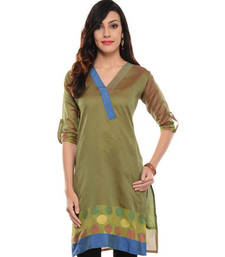 Buy Green cotton woven stitched kurti plus-size-kurti online