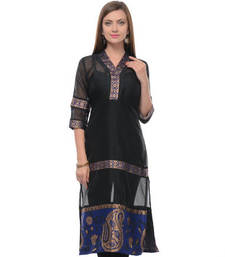 Buy Black cotton woven stitched kurti plus-size-kurti online