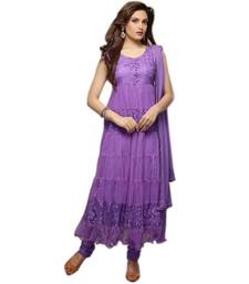 Buy Purple braso and net semi stitched salwar with dupatta anarkali-salwar-kameez online