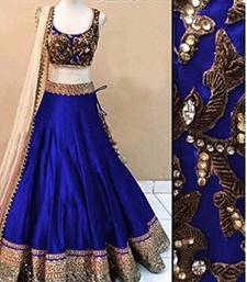 Buy Royal blue georgette embroidery unstitched lehenga choli lehenga-choli online