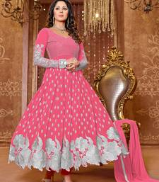 Buy Pink georgette embroidered semi stitched salwar with dupatta (PREMIUM QUALITY ) anarkali-salwar-kameez online