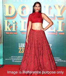 Buy red embrodired net unstitched bollywood lehengas bollywood-lehenga online