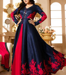 Buy Navy blue bhagalpuri silk embroidered semi stitched salwar with dupatta party-wear-salwar-kameez online