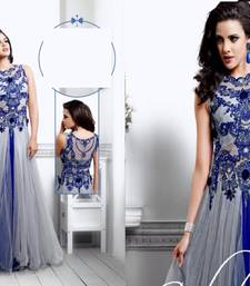 Buy silver net embroidered semi stitiched party wear gowns party-wear-gown online