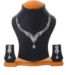 Buy Silver Rhodium Plated Wedding Wear Elegant Necklace Set For Women necklace-set online