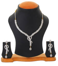 Buy Studded Shimmer Party Earrings Necklace Set For Women necklace-set online