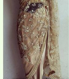 Buy georgette saree by fabkaz (Beige) party-wear-saree online
