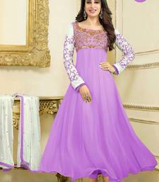 Buy Purple georgette embroidered semi stitiched salwar with dupatta party-wear-salwar-kameez online