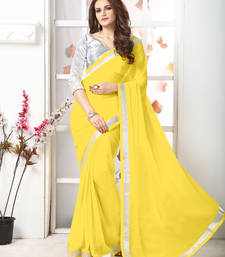 Buy Yellow  Embroidery chiffon saree with blouse chiffon-saree online