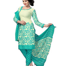 Buy Turquoise art silk printed semi stitched salwar with dupatta salwars-and-churidar online