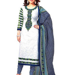 Buy White art silk printed semi stitched salwar with dupatta salwars-and-churidar online