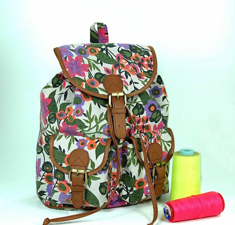 Floral canvas backpacks