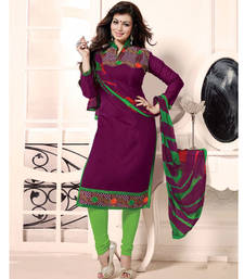 Buy Purple embroidered chanderi unstitched salwar with dupatta dress-material online