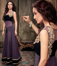 Buy Purple and black georgette embroidered semi stitiched salwar with dupatta semi-stitched-salwar-suit online