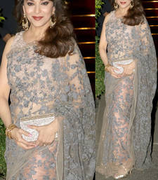 Buy grey embroidered net saree With Blouse madhuri-dixit-saree online