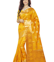 Gold woven tussar_silk saree With Blouse shop online