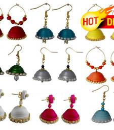 Buy Navratri Special Combo of 9 handmade paper quilling earrings jhumka online