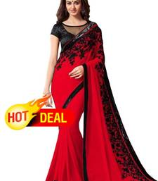 Buy red embroidered faux georgette saree with blouse hot-deal online
