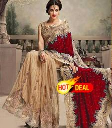 Buy Cream and Maroon embroidered net+velvet saree with blouse party-wear-saree online