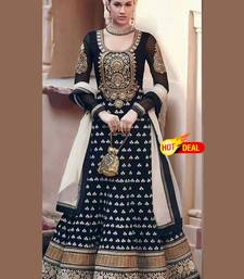 Buy Black embroidered Georgette semi stitched salwar with dupatta salwar-kameez-below-500 online