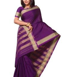 Buy Triveni Beautiful Purple Border Work Cotton Sari TSMRCC401 cotton-saree online