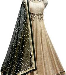 Buy Cream silk embroidered semi stitiched gown with dupatta party-wear-gown online