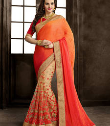 Buy orange embroidered net saree With Blouse party-wear-saree online