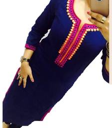 Buy Blue Embrodery Georgette Long  Kurti Selfie Kurti georgette-kurti online