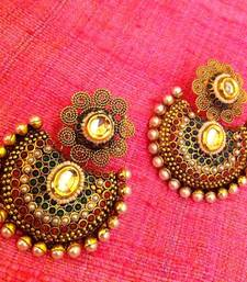 Buy Rope Flower with Sparkling Kundan Maroon Red Green Pearl Earring j37 danglers-drop online