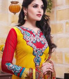 Buy Designer Yellow Embroidered Pure Crape Suit  salwars-and-churidar online