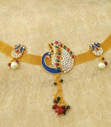 Buy Gorgeous gold plated multicolor adustable peacock armlet bajuband bajuband online