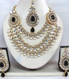 Buy Black stone three line Wedding Necklace set necklace-set online