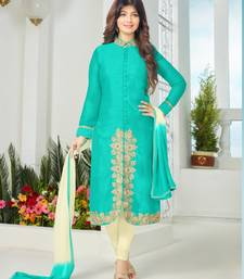 Buy Light blue cotton embroidered semi stitiched salwar with dupatta cotton-salwar-kameez online