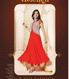 Buy Red Colour Faux Georgette Anarkali Salwar Kameez By Fabfiza anarkali-salwar-kameez online