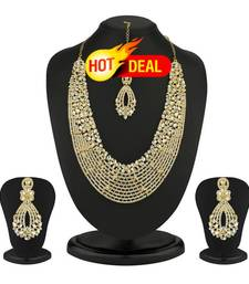 Buy Dazzling Gold Plated Australian Diamond Necklace Set eid-jewellery online