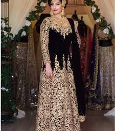 Buy Black cotton silk embroidered semi stitiched salwar with dupatta anarkali-salwar-kameez online