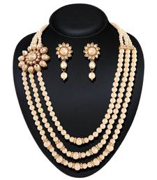 Buy Delightly Gold plated Australian Diamond Stone  Necklace Set necklace-set online