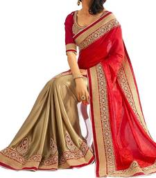 Buy Red printed georgette saree with blouse heavy-work-saree online