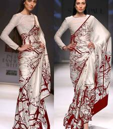 Buy white embroidered art silk saree With Blouse art-silk-saree online