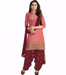 Buy Pink cotton embroidered semi stitched salwar with dupatta cotton-salwar-kameez online