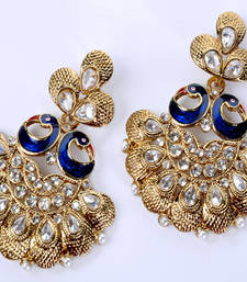 Buy Golden Designer Peacock Earring hoop online