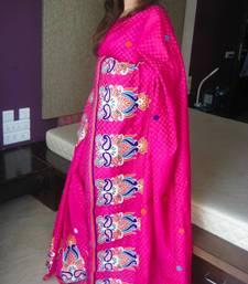 Buy Pink Polka dotted chanderi saree chanderi-saree online