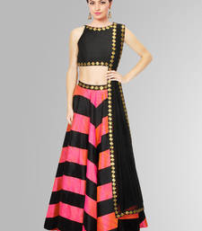 Buy Black and Pink Printed Raw Silk unstitched lehenga-choli lehenga-below-3000 online